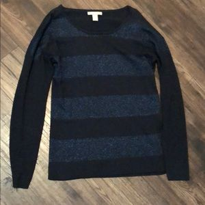 Banana Republic Navy/Navy Shimmer Striped Sweater